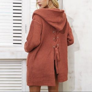 Sweaters - Burnt Rust Back Lace Up Hoodie Cardigan, Free size